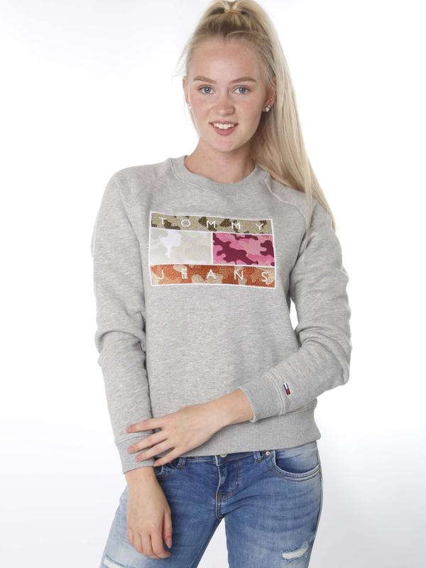 "Tommy Hilfiger Damen Sweatshirt - ""Camo Flag Sweatshirt grey"""
