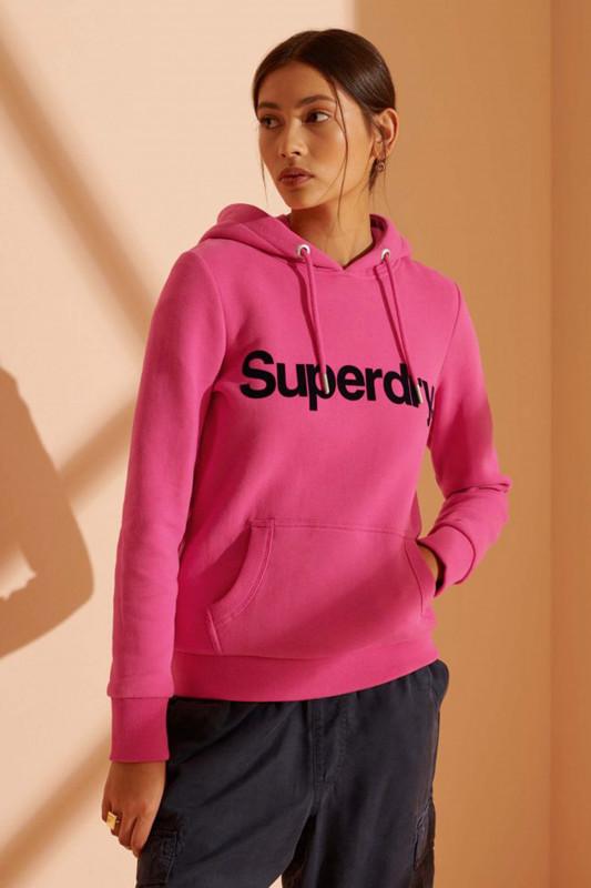 "Superdry Damen Sweatshirt ""Core Logo Flock Hoodie hot pink"""