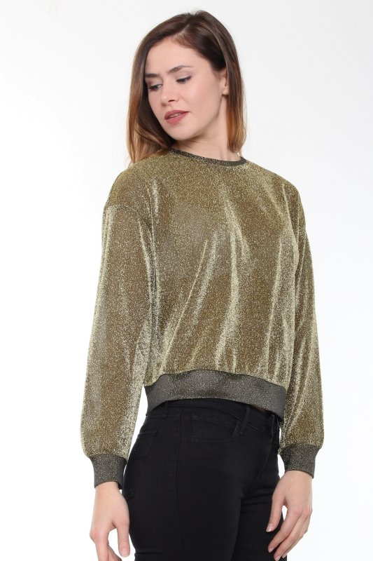 "NA-KD Damen Pullover - ""Glittery Sweater Gold"""