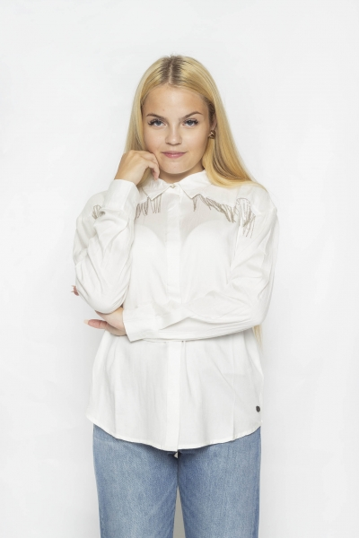 "PETROL Damen Bluse - ""Shirt ls smokey clouds"""