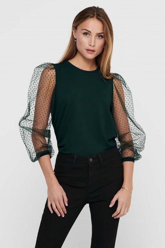"""ONLY Damen Shirt - """"Monna L/S Dot Top Scarab"""""""