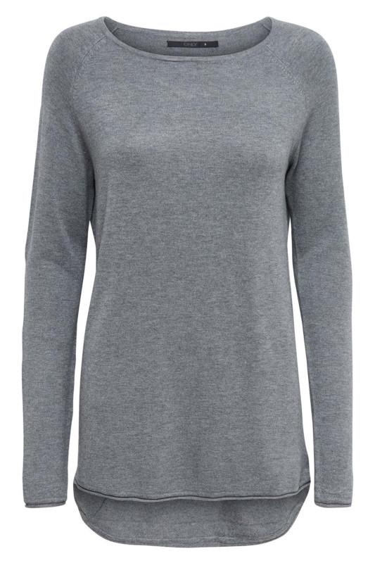 "ONLY Damen Longsleeve - ""Mila Lacy LS Pullover med grey"""