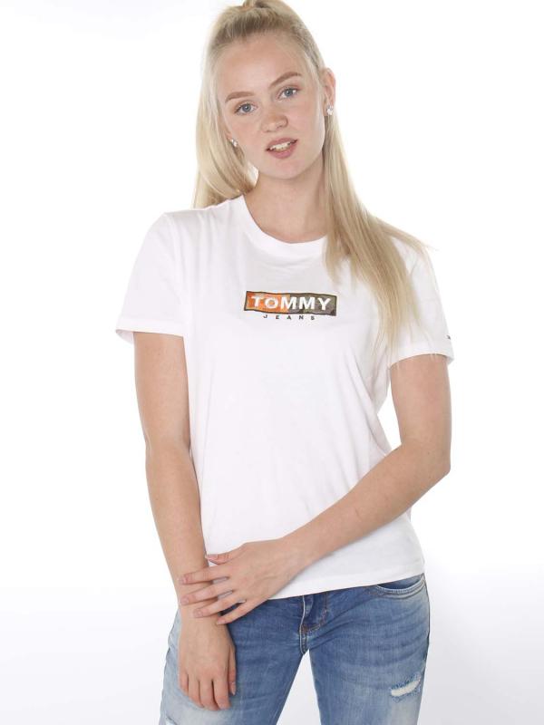 "Tommy Hilfiger Damen T-Shirt - ""Camo Square Logo Tee white"""