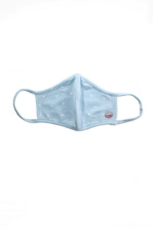 "STRANGE Damen Schutzmaske - ""Face Mask baby blue / white leaf"""