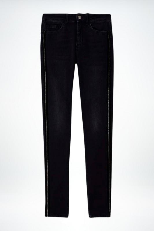 """Liu Jo Damen Jeans - """"Skinny-Jeans mit Schmuck-Galonstreifen"""""""