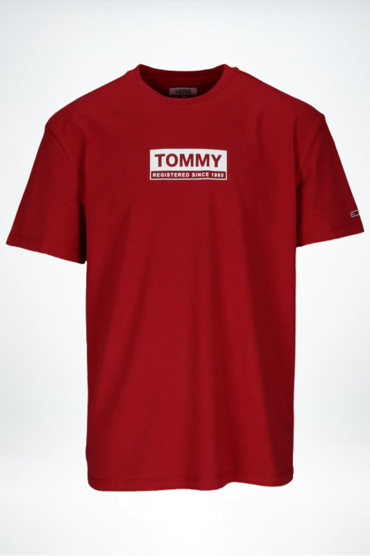 "TOMMY HILFIGER Herren T-Shirt - ""White Box Logo Tee wine red"""