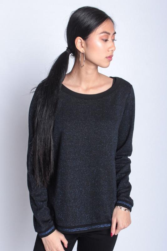 """STRANGE Damen Sweatshirt - """"SABINE black blue glitter"""""""