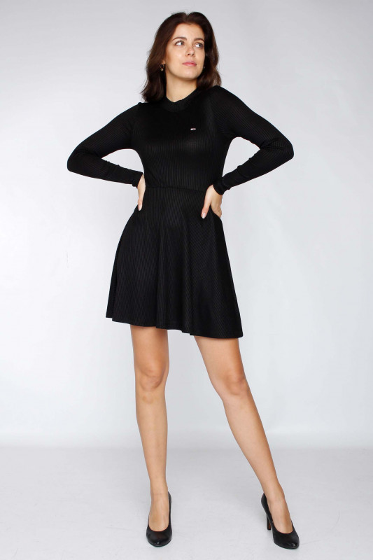 "TOMMY HILFIGER Damen Kleid - ""Fitflare longsleeve dress black"""