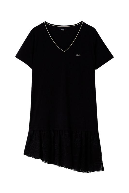 "LIU JO Damen T-Shirt - ""T-Shirt mit asymmetrischem Volant"""