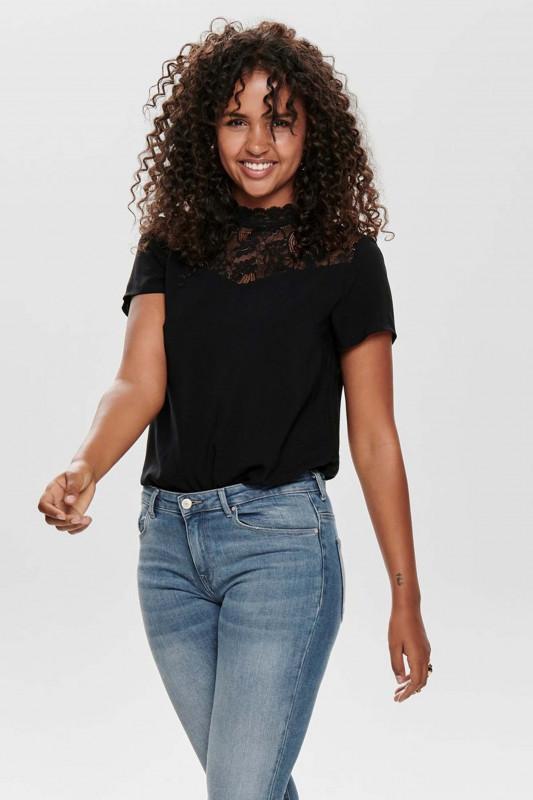 "ONLY Damen T-Shirt - ""First ss lace top black"""