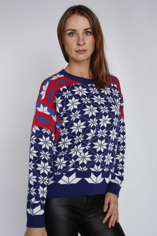 "WRANGLER Damen Pullover - ""Alpine rainbow knit estate blue"""