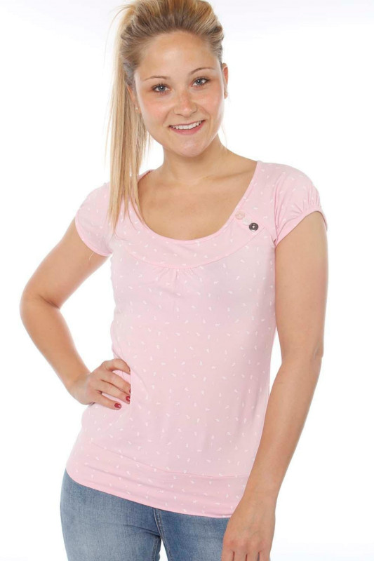 """STRANGE Damen T-Shirt - """"KELLY pearl pink / white leafs"""""""