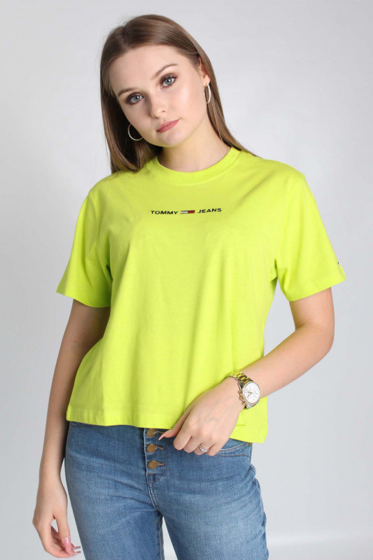 "TOMMY HILFIGER Damen T-Shirt - ""TJW LINEAR LOGO TEE NEO LIME"""
