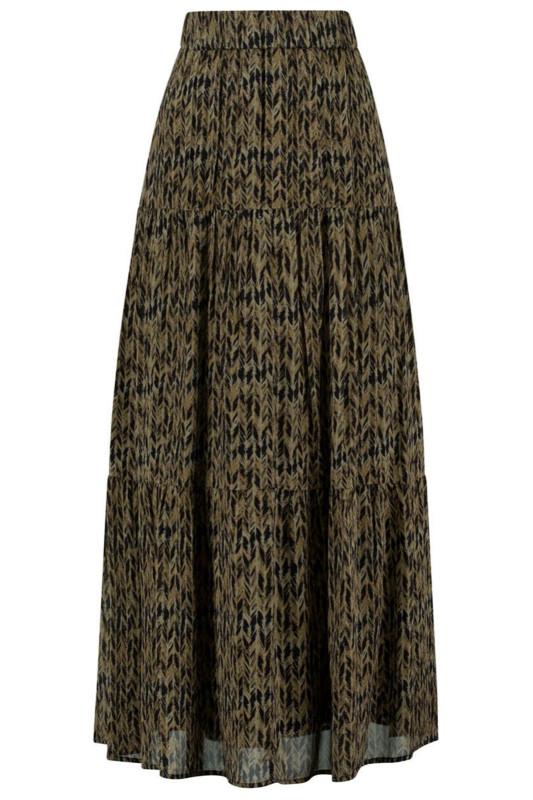 "CIRCLE OF TRUST Damen Rock - ""River Skirt army braid print"""