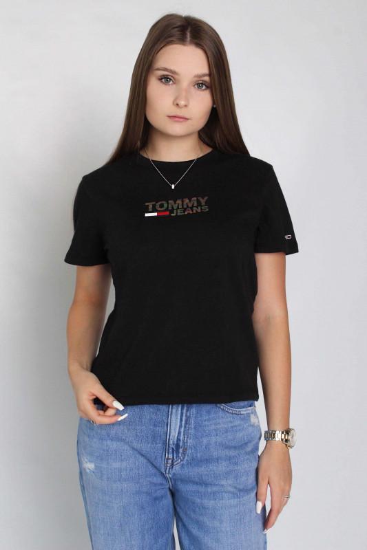 "TOMMY HILFIGER Damen T-Shirt - ""Reg metallic corp logo Tee black"""