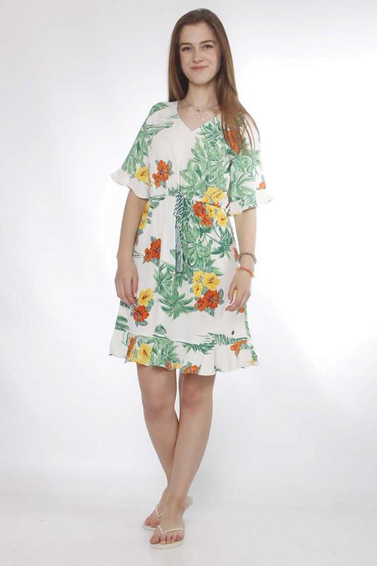 """Strange Damen Kleid - """"Alisa white / tropical flowers"""""""