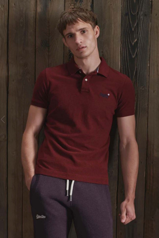 """Superdry Herren Polo S/S - """"Classic Pique Polo rich red grit"""""""